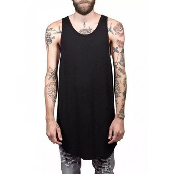 Wholesale- Men Summer Hip Hop Extend Long Tank Top Men's White Vest Fashion Swag Sleeveless Cotton Justin Bieber Solid Tops