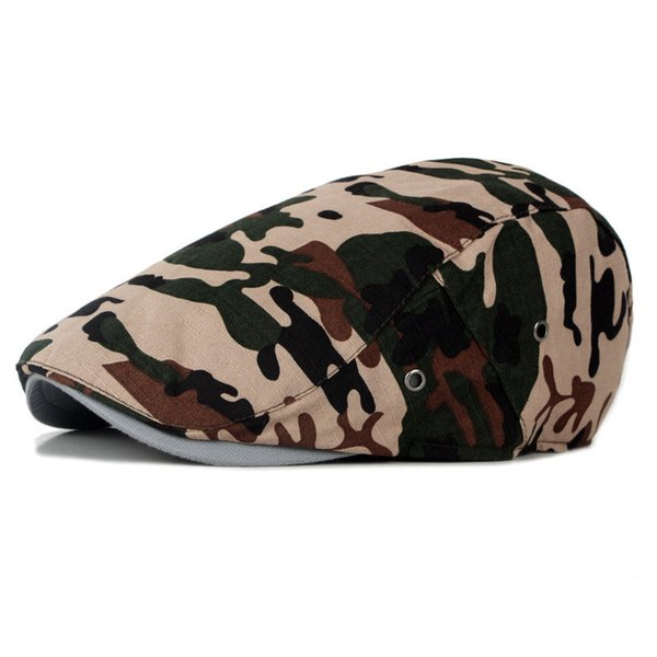 Fashion Camouflage Beret Hat Cotton Male Vintage Boinas Flat Cap For Men Women Casquette Sun Flat Cabbie Newsboy Hat Visors