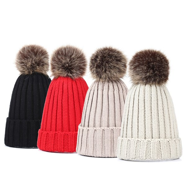 Winter New Korean Imitation Prickly Heat Big Ball Pure Color Knitted Cap Outdoor Warm Lady Wool Hat