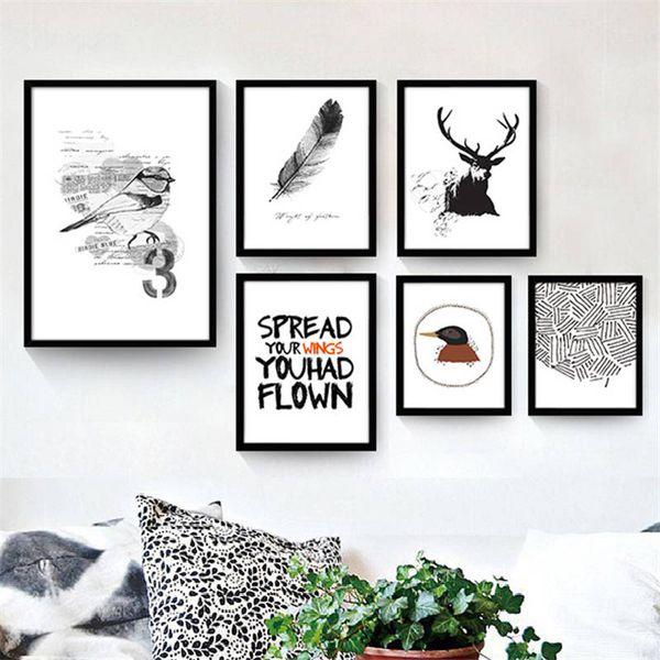 Acheter Peinture Sur Toile Scandinave Noir Et Blanc Oiseaux Dessin Animé Animaux Combinaison Peinture Décorative Wall Images Pour Enfants Chambre De