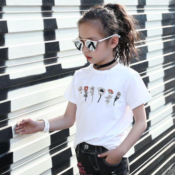 Teens Girl Floral Camisetas bordadas Summer Cotton Girls Brand T -Shirt Kids Designer Bee Tees Loose Rock T -Shirt Ropa de niña