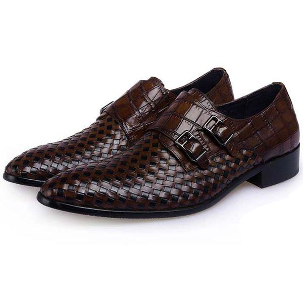 4ff146d09 2018 homens sapatos formais sapatos artesanais plaited couro genuíno dedo  apontado respirável sapatos masculinos para festa