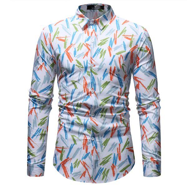 Men Print Dress Shirts 201 New Fashion Autumn Long Sleeve Cotton Print Casual Dress Shirts Camisa Masculina M-3XL