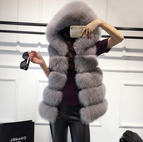 New Fox Fur Jacket Coat For Women Sleeveless jacket Faux Fur Coat High Quality Women's Winter Wool Coats Outerwear Short Hooded