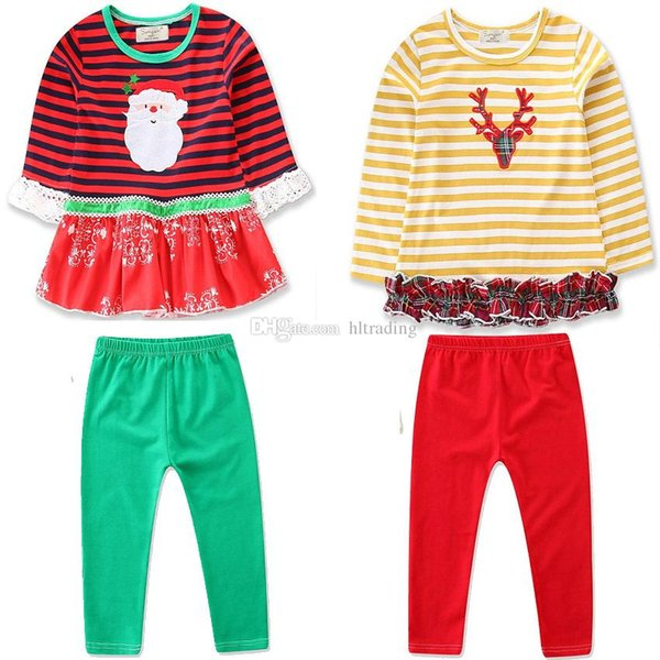 Christmas Baby girls outfits INS children Elk Santa Claus stripe dress top+pants 2pcs/set 2018 Autumn Boutique kids deer Clothing Sets C4846