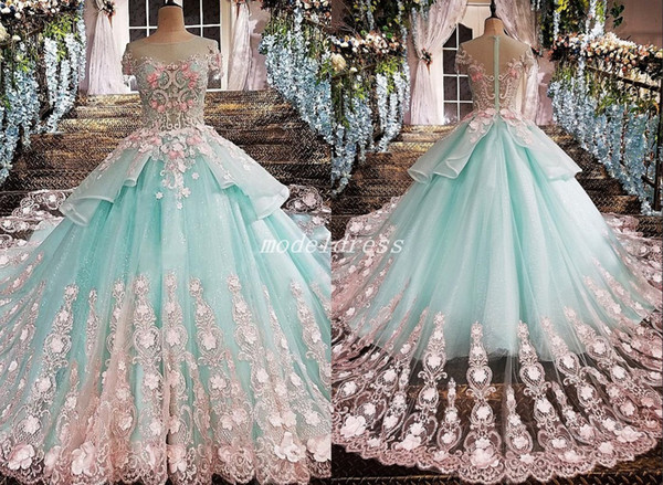 2019 Princess Mint Green Ball Gown Quinceanera Dresses Jewel Short Sleeve Pink Appliques vestidos de 15 anos Prom Party Gowns For Sweet 15