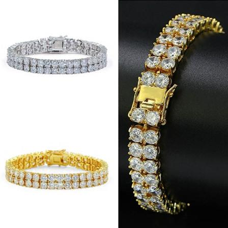 mens Silver Gold Plated Bracelet Men Simulated Diamond Miami Cuban Charm bracelets Iced Out Bling Rhinestone Chains Hip Hop Jewelry