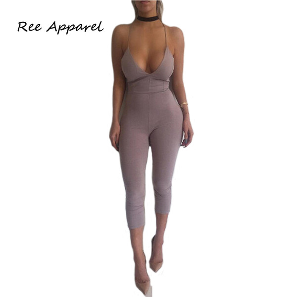 Mujeres Sexy Backless Halter Jumpsuit Verano Mujeres Mamelucos Body Solid Overol Bodycon Strapless Jumpsuit Mujer Playsuit