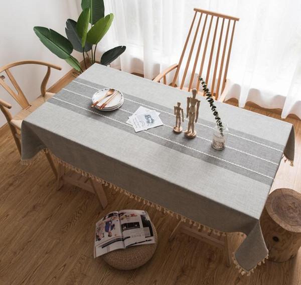 Keten Masa Örtüsü Modern Dekoratif Masa Örtüsü Püskül Iace Dikdörtgen Masa Örtüsü Ev Mutfak Parti Ziyafet Yemek Masa Örtüsü
