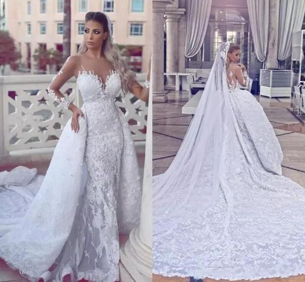 2018 Новое прибытие длинные рукава свадебные платья со съемным поезд кружева аппликация иллюзия лифы свадебные платья Vestido де Novia