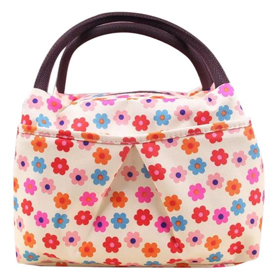Print Design Women Bag Lunch Bag Tote ( Floral Beige )