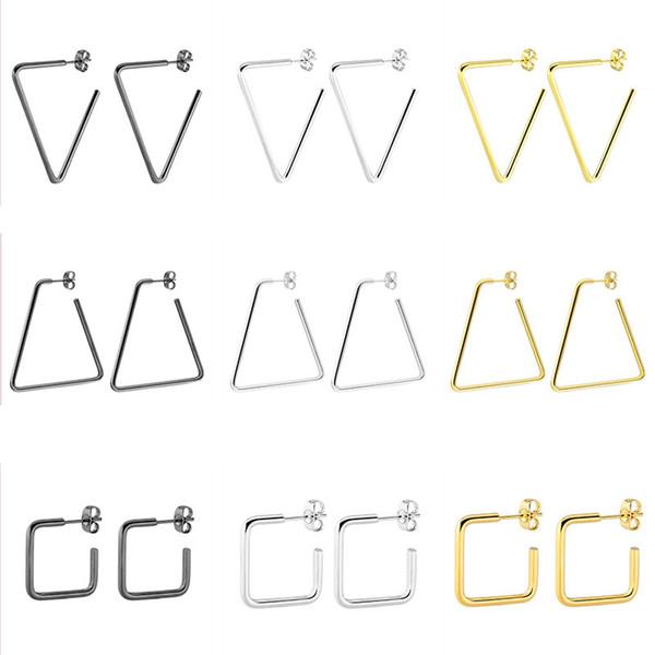 Orecchini a cerchio in acciaio al titanio 100% titanio triangolo quadrato orecchino per gli uomini donne punk decorazione del partito gioielli di moda regali
