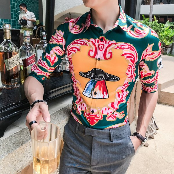 Summer Gold Baroque Party Cloth 2018 Casual Stylish Shirts For Men All Over Print Camisa Masculina Desinger Club Shirt Slim Fit