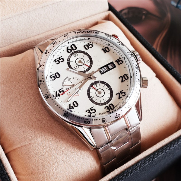 luxury limited ediction mechanical watch Japan Chronograph senna steel strap Mens wrist watches 100 meters Free Shipping