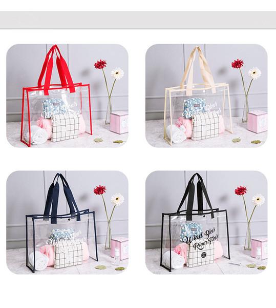 4styles Transparent PVC Travel Beach Bag Fashion Women Shopping Storage Summer Swim bag Clear Shoulder tote FFA740