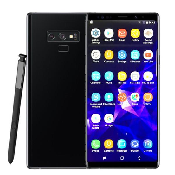 Goophone note 9 6.3 pulgadas 1G RAM 8G ROM huellas dactilares MTK6580 Los teléfonos celulares de cuatro núcleos muestran 4g lte 128 gb desbloqueados