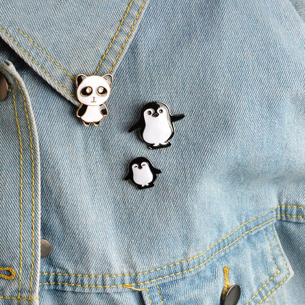 brooch pins set Penguin panda brooches pins Hard enamel metal pins Animal badges Jacket jeans Accessories