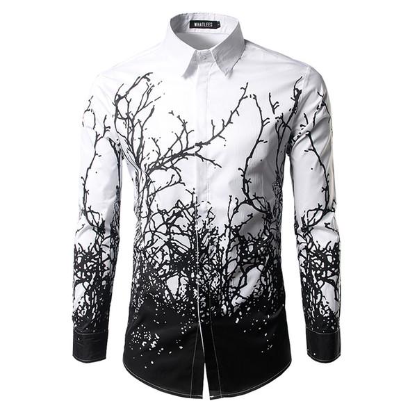 Chemise De Luxe Hommes 2017 Marque Branches D'impression D'encre Pour Hommes Robe Chemises Casual Slim Fit Blanc Noir Chemise Homme Coton Chemises Hommes