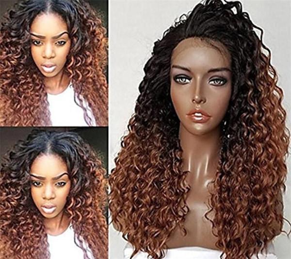 Cheia do laço virgem peruca sem sheding cabelo humano com cabelo do bebê 100% não processado remy longo ombre cor kinky curly acessível para as mulheres