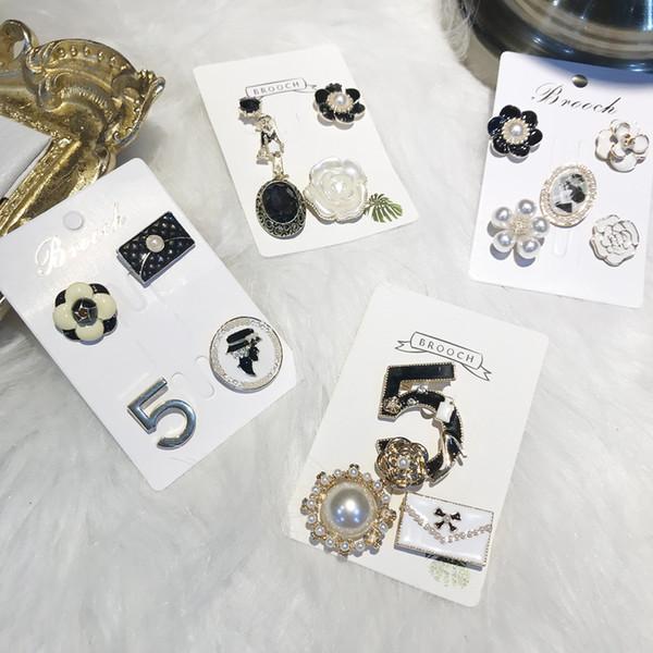 5 figur Vintage Mode Pins Geistige Kühle Geometrische Muster Broschen für Frauen Paare Modedesigner Pins Besten Geschenke Mode-accessoires