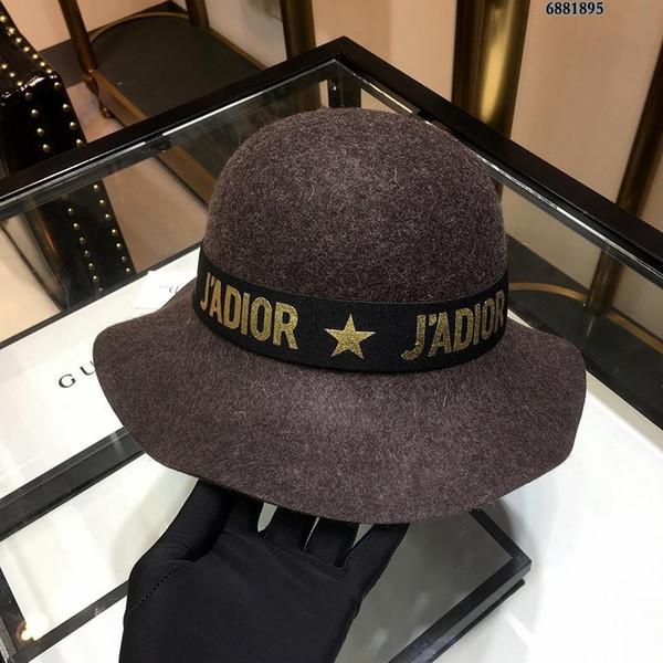 High-end Wool Cashmere Peaked Beanie Wool Yarn Hats Autumn And Winter LADIES Wide Brim Sun Hat (29849)