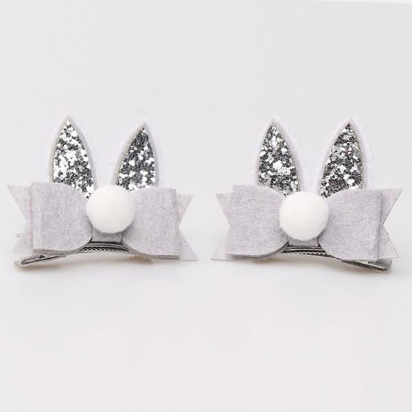 One Set 2 Pcs Glitter Cartoon Double Rabbit Ears Hair Clips Hair Bow Princess Barrette Hairpin Kids Hair Accessories Beautiful HuiLin B105