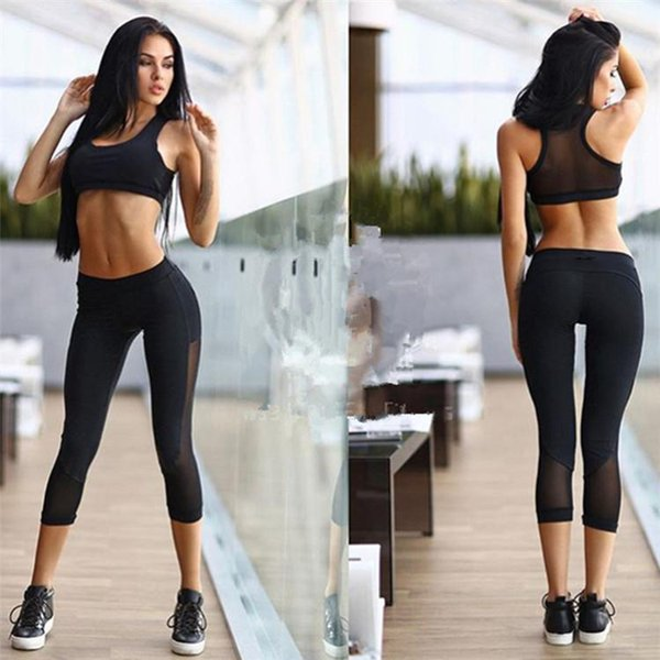 2017 sexy bra and panty new design mesh insert sports crop top and leggings set yoga gyms clothes black tank top capri sports suit WYS003