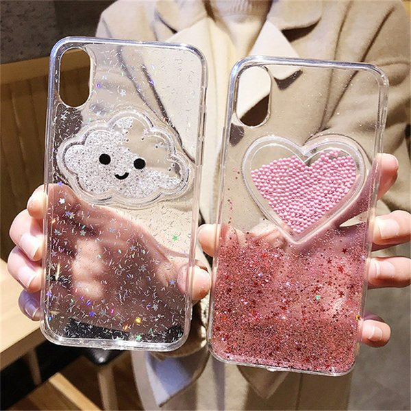 Bling Smile Sweat Heart Start Quicksand Liquid Phone Case For iphone X 7 8 Plus TPU Back Cover Case Drop Shipping