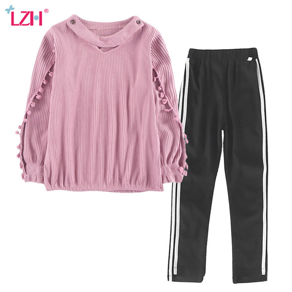 LZH Children Clothes 2017 Autumn Winter Girls Clothes Set T-shirt+Pants 2pcs Kids Girls Sport Suit Teenage Girl Clothing 12 Year