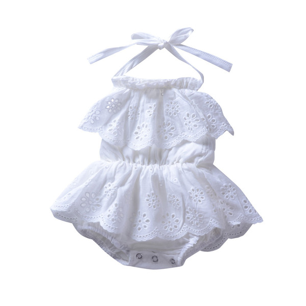 e18878e55112 Ins Baby girls clothes Cotton White Lace Embroidery rompers Sleeveless Backless  Halter 2018 Cute girls Jumpsuit Summer