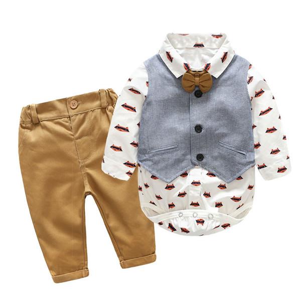 Boy Clothing Sets Newborn Gentlemen 2018 Autumn Spring Fashion Rompers Pants Vest Sets Clothes Baby Infant Cotton Outwear 0-24M