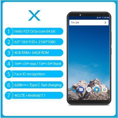 VERNEE X MT6763 Octa Core Mobile Phone 6.0 Inch 18:9 FHD+ 4GB RAM 64GB ROM Android 7.1 16MP Four Camera OTG 6200mAh Fingerprint Mobile phone