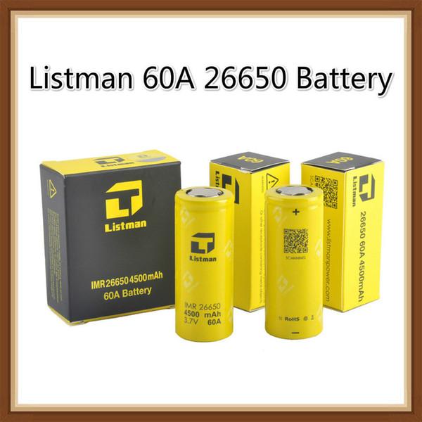 100% originale Listman IMR 26650 4500mAh 60A ad alto scarico batteria ricaricabile per 510 filetto mod
