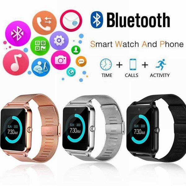 SALE!!!! Z60 Smart Watch Bluetooth Smartwatch with Luxury Stainless Steel Support SIM and TF Card Smartwatch for IOS Android with Retail Box