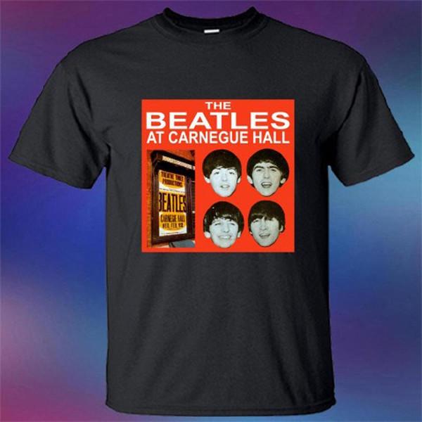 New The Beatles no Carnegie Hall Cover Logo Men preto tamanho da camiseta S-3XL
