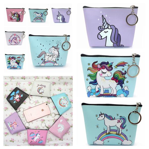 12styles Mini Unicorn cartoon Coin Purses girl Zipper Wallet unicorn Wallet Money Bag card Pocket unicorn Key Holder Bag FFA842 500pcs