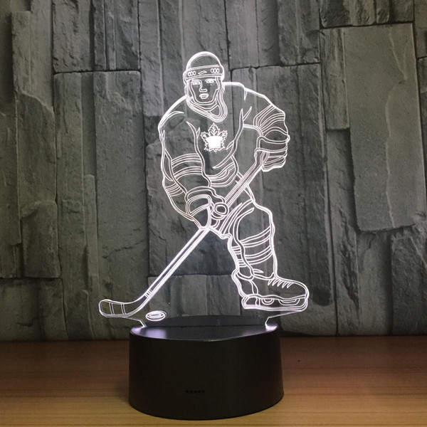 best selling Hockey Ice Ball Player 3D Optical Illusion Lamp Night Light DC 5V USB Charging AA Battery Wholesale Dropshipping Free Shipping