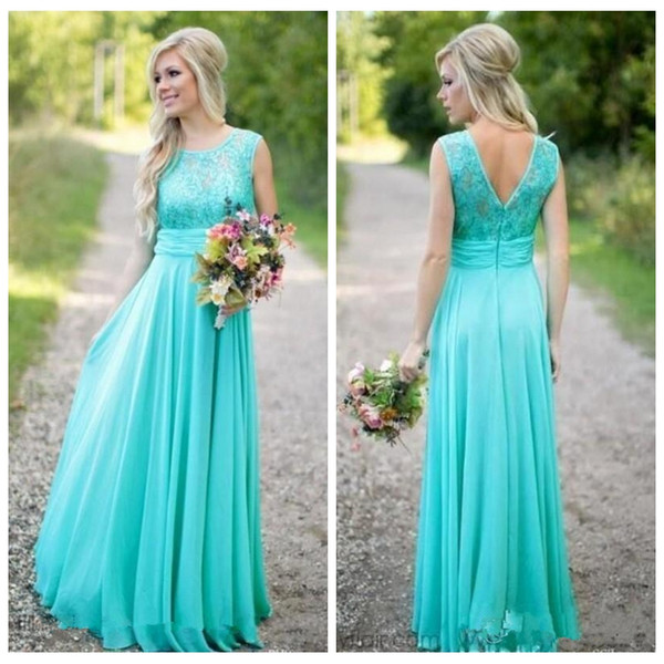 2018 Elegant Lace Top Long Turquoise Bridesmaid Dresses A Line Sleeveless  Long Maid Of Honor Gowns Plus Size Wedding Guest Dress Formal Halter Neck  ...