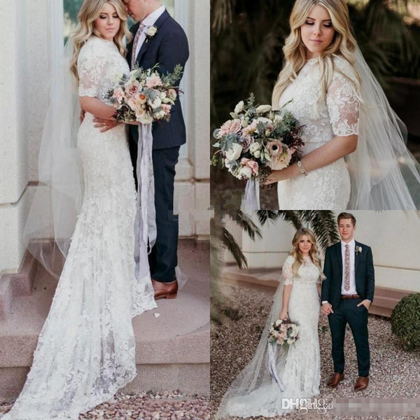 top popular 2018 New Short 1 2 Half Sleeves Mermaid Wedding Dresses Full Lace Chapel Train Jewel Neck Custom Made Plus Size Wedding Gown BC0266 2019