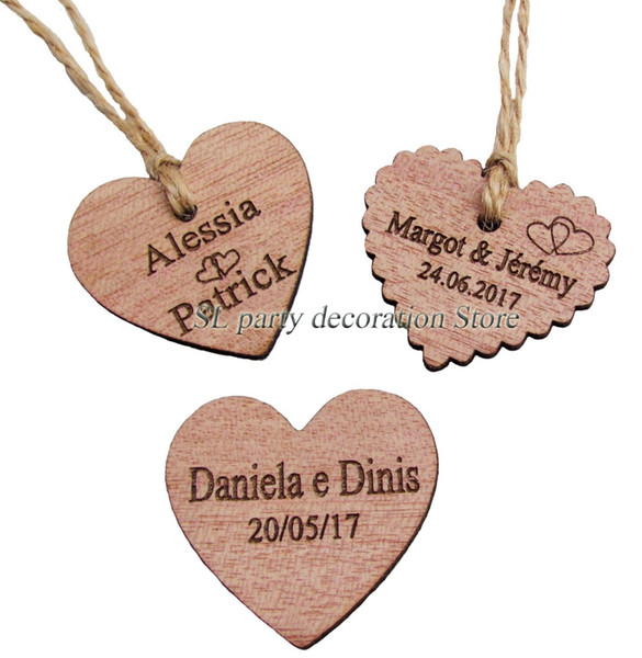 30 50 100pcs personalized engraved wedding name and date wooden heart tag gift favor tag bridal shower invitation tags