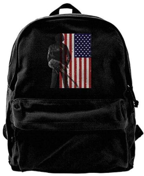 Canvas Backpacks Bruce Springsteen USA Flag Canvas Backpack Travel Rucksack Backpack Daypack Knapsack Laptop Shoulder Bag Designer bag