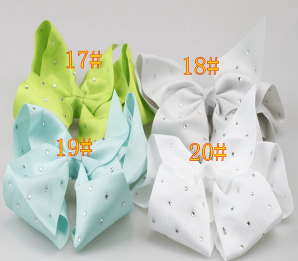 18cm Rhinestones Hair Bow with Prong Alligator Clip Boutique Ribbon Bows for Girls Cartoon Headwear Children Hairpins