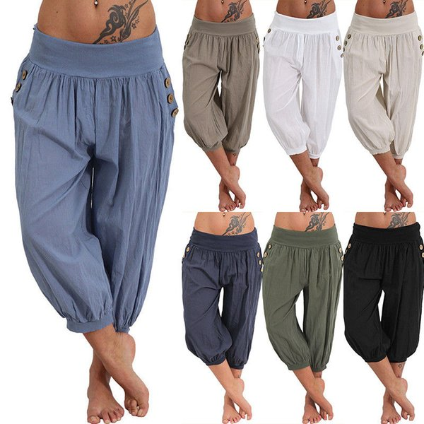 best selling Womens Palazzo Harem 3 4 Pants leggings Baggy Aladdin Boho Hippy Trousers 6 - 24