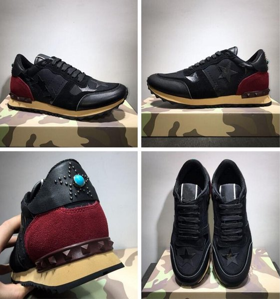 Роскошный дизайнер мода Стад камуфляж кроссовки обувь рок Бегун мужчин, женщин, х