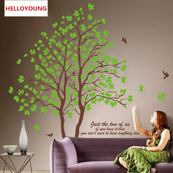 Large 3D Removable Dining Room All-match Style Art Mural Wall Stickers Home Furnishing Decorative Green Trees