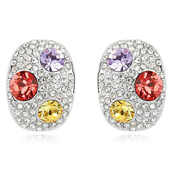 Brand Jewelry Fashion High Quality Stud Earrings For Women Crystal from Swarovski Elements Korea Trendy Accessories 8440