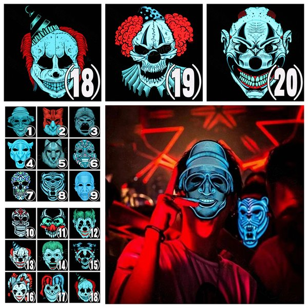 20styles Halloween El Wire Cold Light Line Ghost Horror Mask LED Party Cosplay Masquerade Street Dance Halloween Rave Toy 20pcs AAA1065