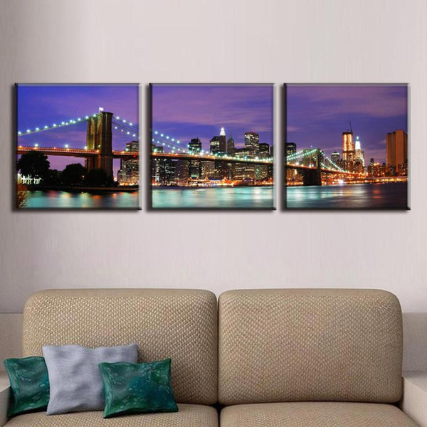 Canvas Prints Painting 3 Pieces Landscape The Purple Night Of New York City On The Brooklyn Bridge Wall Pictures For Living Room