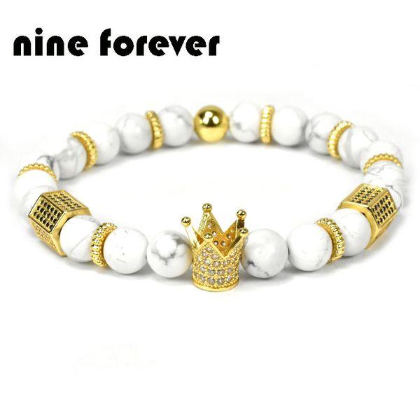 Nine forever natural stone beads bracelet men jewelry king crown charm bracelets for women pulseira masculina bileklik