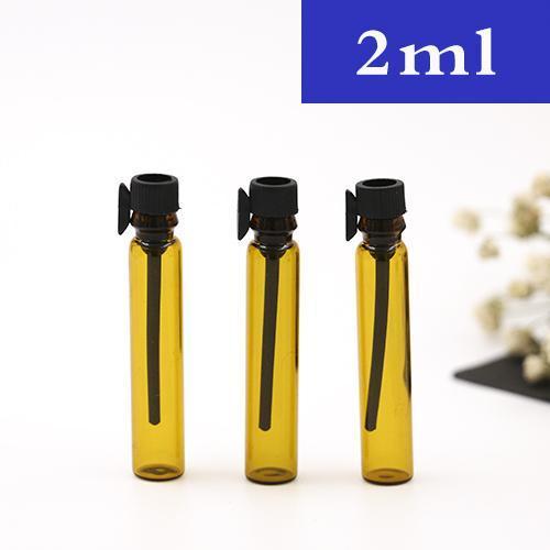 1 ml / 2 ml leer Mini-Braunglasfläschchen Kleine Probe Reagenzglas-Parfümflasche Nachfüllbare Glasreiseflasche